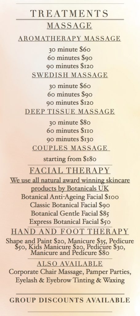 PDF Price List Perfectly Pampered Mobile Massage Spa Cayman