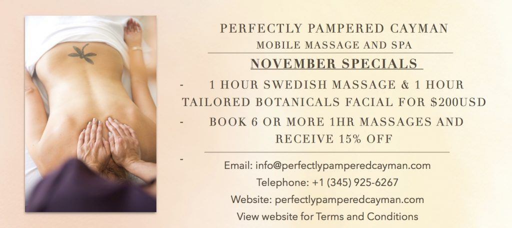 November spa specials with Perfectly Pampered Cayman, Grand Cayman